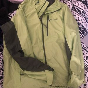 Bright green Colombia rain coat